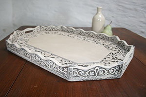 Pedran hand painted shabby chic  Ornate Wooden Tray