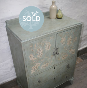 Pedran hand painted shabby chic  Cabinet with Two Drawers