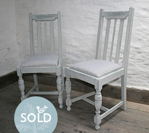 Pedran hand painted shabby chic  Pretty Pair of Oak Chairs