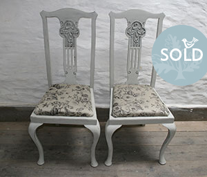 Pedran hand painted shabby chic  Pretty Pair of Queen Anne style chairs