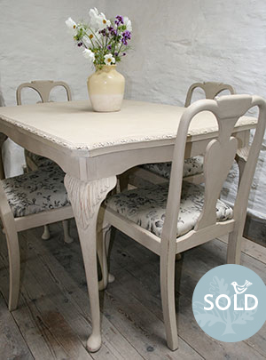 Nest Of Tables Pedran Hand Painted Shabby Chic Queen Anne Style Extending Dining Table And Six Matching Chairs