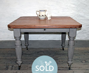 Pedran hand painted shabby chic  Pretty Extending Rustic Walnut Table