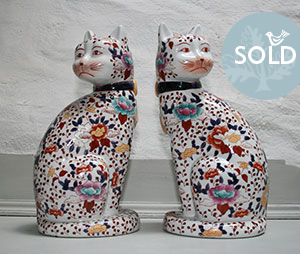 Pedran hand painted shabby chic  - Vintage finds Pair of Amari Cats