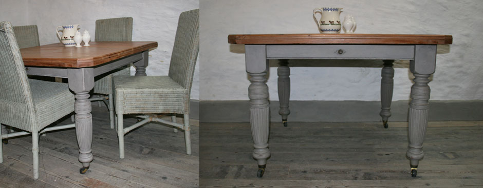 Pedran hand painted Victorian Rustic Farmhouse Extending Table